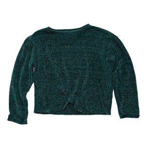 Zara Emerald Green Chenille Tie Boxy Crop Sweater